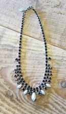 TOM BINNS Black Crystal & Faux Pearls Collar Necklace NEW IN GIFT BOX
