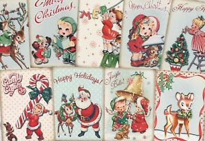 Vintage Christmas retro Style Card Toppers, Gift Tags Make Your Own Cards
