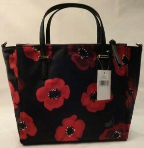 Kate Spade Red & Black Floral Purse Wilson Road Poppy Medium Satchel or Shoulder