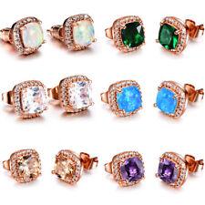 Wholesale 6 Square Opal Amethyst Topaz Morganite Rose Gold Plated Stud Earrings