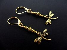 A PAIR PRETTY LITTLE GOLD COLOUR DANGLY DRAGONFLY LEVERBACK HOOK EARRINGS. NEW.