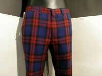"TOPMAN PREMIUM man trouser red/blu check ankle ""chino""size NEW with tag size 32R"
