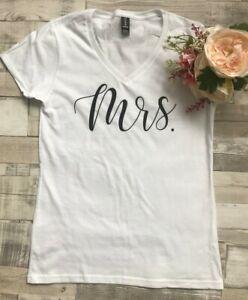 Mrs Wedding T-Shirts Honeymoon Hen Party Girls Night Out Wedding Gift V-Neck