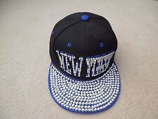 Shiny, Studded New York, Navy Snapback/ Snap, Flat Baseball Cap, Excellent