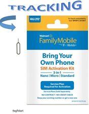 Walmart Family Mobile Standard, Micro, Nano SIM Card Kit, T-Mobile. Free Tool!