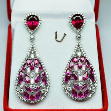 64.05ct Finely Cherry Red Ruby White Sapphire 925 Silver Earrings