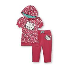 Hello Kitty Girl Pink Glitter Hoodie Top Jacket Capri Pant Track Outfit Set 5 5T