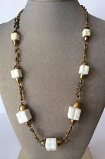 "Neat!!! Vintage White Lucite Cubes And Brass Chain Knot Pattern 24"" Necklace"