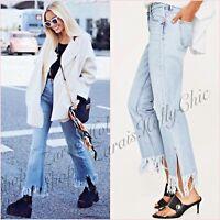 Zara Light Blue Bootcut Frayed Hem Flared Crop Jeans UK 6 8 US 2 4 Blogger ❤