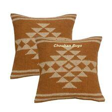 2 set Indian Vintage Jute Kilim Cushion Cover Decorative Rug Pillow Dorm 1097-BB