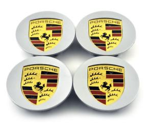 NEW 4pcs 76mm Porsche Colour Wheel Center Hub Caps Silver / FAST n FREE Shipping
