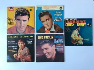ELVIS PRESLEY.CHUCK BERRY.RICKY NELSON. ADRIANO CELENTANO. LOT DE 5 DISQUES 45T