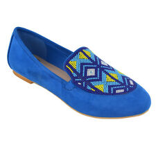 Womens Slip on PUMPS Aztec Embroidered Beaded Ladies Summer Loafers Shoes UK 5 / EU 38 / US 7 Blue Faux Suede