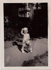 Vintage Antique Photograph Adorable Little Boy On Bike Wearing Sailor Outfit