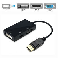 DisplayPort 1.2a to 4K HDMI Dual Link DVI VGA Passive Adapter 4-in-1 with Audio