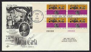 #1265 5c Magna Carta-Plate Block, Art Craft FDC **ANY 5=FREE SHIPPING**