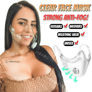 CLEAR Face Mask Shield Plastic Protective Reusable Transparent Anti Fog Cover