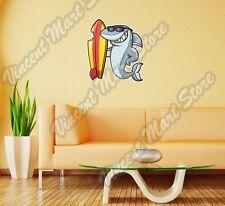 """Shark Surf Surfboard Surfing Cartoon Wall Sticker Room Interior Decor 20""""X25"""""""