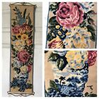 """Vintage Needle Point Floral Flower Handmade Tapestry 28x8"""" W/ Metal Wall Hanger"""