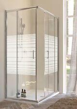 Box doccia cabina angolare scorrevole cristallo trasparente serigrafato 6mm