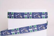 "Seattle Seahawks 7/8"" Grosgrain Ribbon 1, 3, 5, 10 Yards Football Ship From Usa"