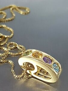 "18ct Gold & Tourmaline Pendant & 18ct Gold 15 3/4"" Chain.      Ref:xaood"