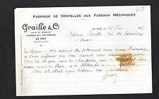 """LE PUY (43) USINE de DENTELLES aux FUSEAUX """"GRAILLE & Co"""" en 1925"""