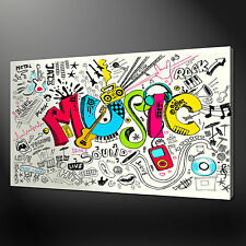 MUSIC DOODLES ABSTRACT CANVAS WALL ART PICTURES PRINTS FREE UK P&P