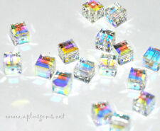 SWAROVSKI  Faceted Square Cube Beads *Crystal AB* (10) #5601 6mm Clear White