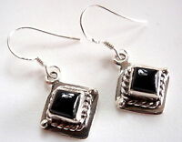 Small Black Onyx Square Earrings Rope Style Accent 925 Sterling Silver Dangle