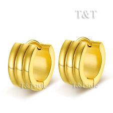 T&T 14K Gold GP Stainless Steel Thick Hoop Earrings (EG33)