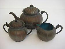 Vintage Chinese Hand Hammered Copper Enamel Inside Teapot Sugar Creamer Set