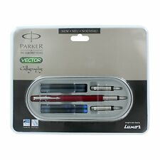 Parker Vector Standard CT Calligraphy Fountain Pen Red Body Broad Medium front