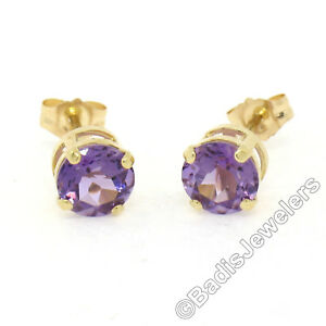 14K Yellow Gold 1.40ctw Round Prong 6mm Amethyst Classic Simple Stud Earrings