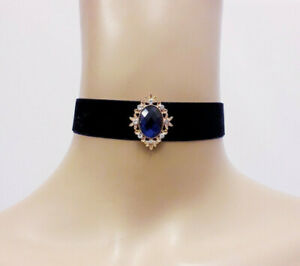 Black Velvet Choker with Ornate Navy Blue Diamante Jewel Steampunk GIFT BOXED