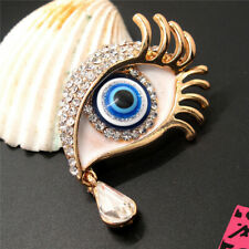 Eyes Crystal Betsey Johnson Brooch Pin New White Rhinestones Turkish Lucky Blue