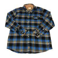 Legendary Whitetails Men's Size 2XT Tall Black Blue Plaid Thick Flannel Shirt