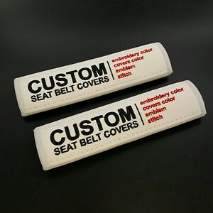 White seat belt pads Covers with custom embroidery any color 2pcs