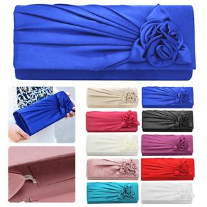 Womens Ladies Satin Clutch Bag Bridal Evening Party Shoulder Flower Handbag New