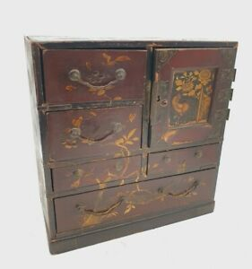 Antique Japanese Lacquer Cabinet Nest Of Draws Box Mid 19th Century