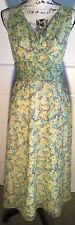 Villager Liz Claiborne Sz 10 Dress Grn Yellow Blue Floral Sleeveless Sash Belt