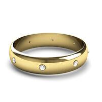 18CT Yellow Gold Diamond Wedding Ring D Shaped Band Set With 8 Diamonds