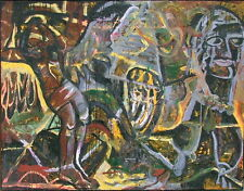 ALBERTO VENEGAS b 1954 MEXICO LARGE ABSTRACT EXPRESSIONIST GRAFFITI ART PAINTING