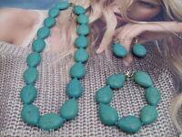 Collana Orecchini Bracciale Pasta di Turchese Parure 3 Modelli Parure Turquoise