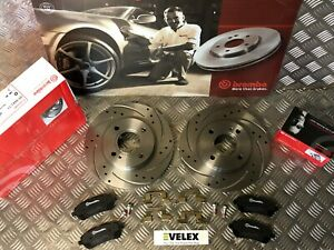 BREMBO FRONT DRILLED & GROOVED PERFORMANCE BRAKE DISCS & PADS FORD FIESTA MK7