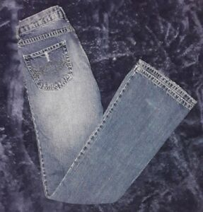 Urban Behavior Distressed Jeans Womens  SZ 3/27 Flare Leg Ripped Denim