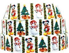 "Grosgrain Ribbon Ribbon 7/8"" & 1.5"" Christmas Tree Mickey Mouse Snowman Printed."
