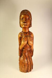 Vtg Hand Carved Wood Folk Art Native Bust Sculpture Signed T Plummer Ja WI 1974