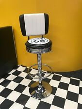 ROUTE 66 BAR STOOL- CHROME GAS LIFT WITH BACK