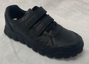 BNIB Clarks Boys Tyrex Ride Black Leather School Shoes E/F/G/H Fitting